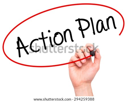 Man Hand writing Action Plan with black marker on visual screen. Isolated on white. Business, technology, internet concept. Stock Photo