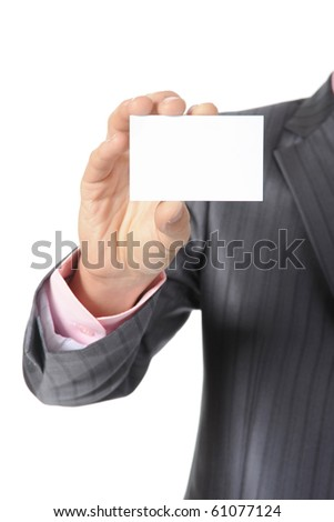 man handing a blank. Isolated on white