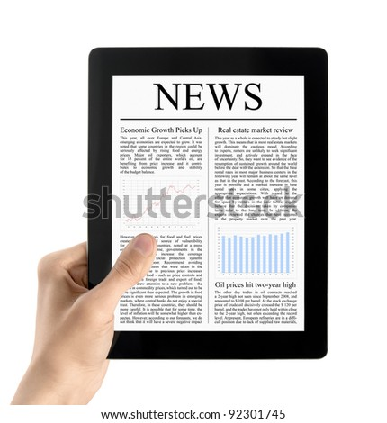 Man hands are holding electronic tablet with news. Isolated on white.