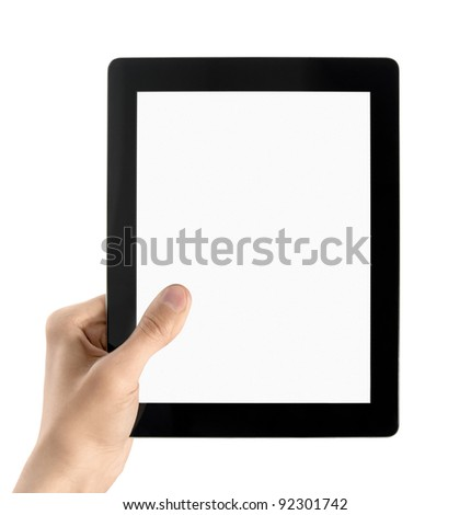 Man hands are holding modern electronic tablet with blank screen. Isolated on white.