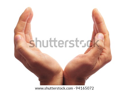 man hands forming a cup with blank space to write text inside