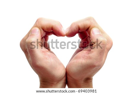 man hands forming a heart on a white background