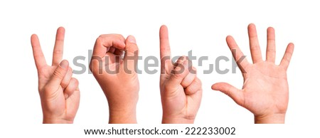 Man Hands Forming Number 2015 On a White Background