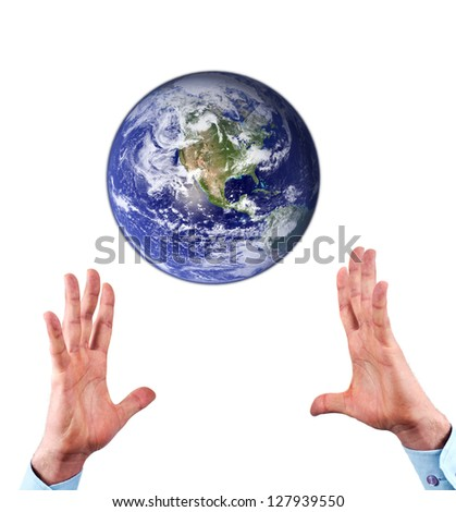 Man hands reaching for earth globe isolated on white background.Conceptual design.Earth image provided by NASA Goddard Space Flight Center