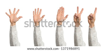 Man hands showing various gestures. Open palm, finger pointing, spread fingers and voting signs. Human hand gesturing isolated on white background. Raised arms presenting popular gestures. #1371986891