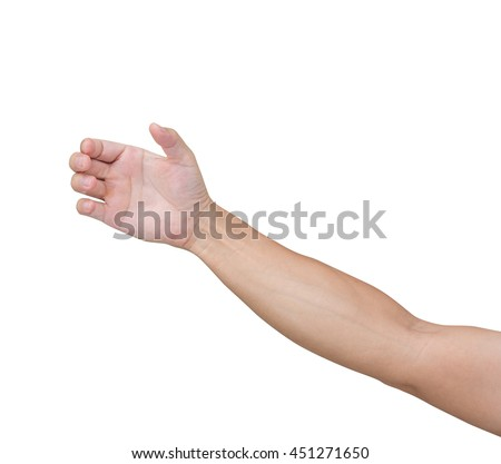 Man hands try to grab something isolated on white background, clipping path