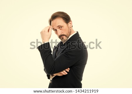Man handsome confident mature fashion model wear fashionable suit on white background. Ways to accessorize your suit. Bespoke suit flatters every wearer. Suit imbue sense of confidence of gentlemen.