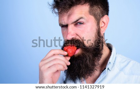 Man handsome strict face sexy hipster with long beard try strawberry. Hipster enjoy juicy ripe red strawberry. Man eating sweet strawberry. Gastronomic pleasure. Desire concept. Oral pleasure. #1141327919