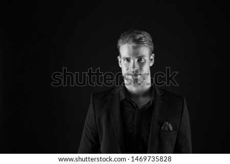 Man handsome well groomed macho on black background. Feeling confident. Male beauty and masculinity. Guy attractive stylish confident model. Confident in his style. Man in dark clothes. Real macho.
