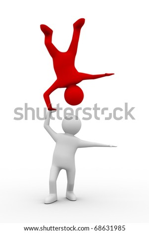Man handstand on white background. Isolated 3D image