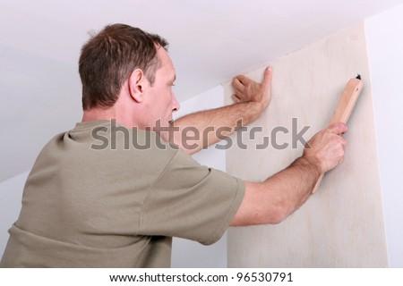 Man hanging wallpaper Stockfoto ©