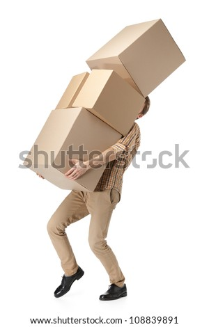 Man hardly carries the cardboard boxes, isolated, white background