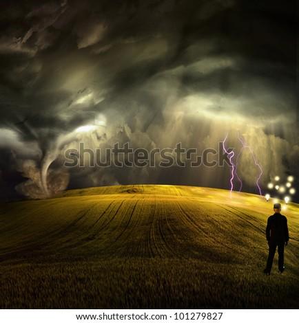 Man has many ideas in stormy field