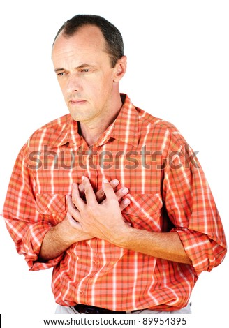 Man have a heart attack, isolated on white background