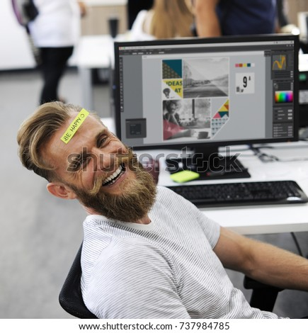 Man Having Be Happy Sticky Note on Forehead During Office Break Time