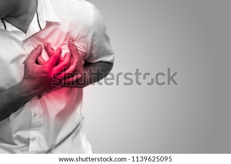 Photo of  Man having chest pain - heart attack black and white tone, hearth care and medicine concept