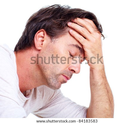 Man having headache. Isolated over white background.