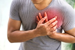 man having heart attack. healthcare concept