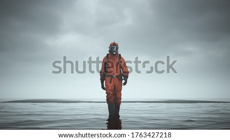 Man Hazmat Suit with Gas Mask and Breathing Apparatus Walking Towards in Water with Black Sand 3d illustration 3d render   Foto stock ©