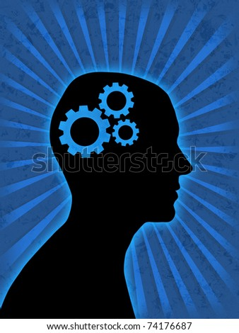 man head silhouette with gear wheels inside