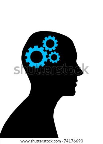 man head silhouette with gear wheels inside