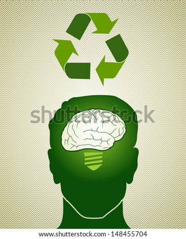 Man head with brain green idea and recycle symbol.