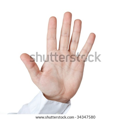 Man hold open palm. clipping path.