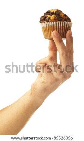 man holding a chocolate muffin on white background
