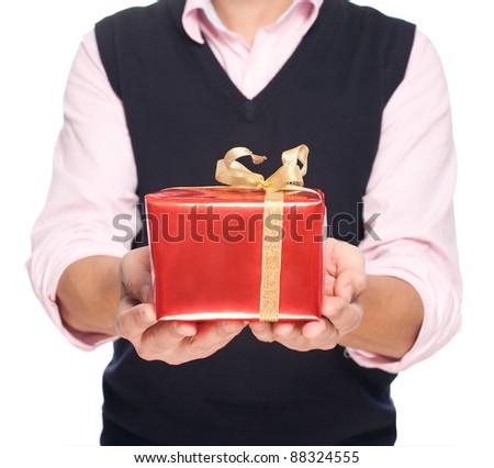 man holding a christmas gift box