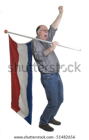 Man holding a flag isolated on white