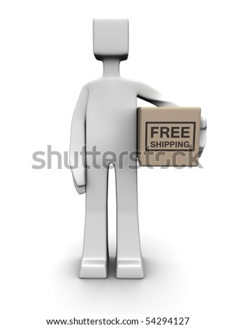 Man holding a free shipping parcel 3d illustration