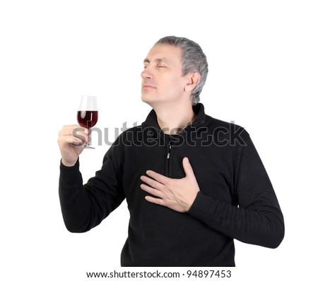 Man holding a glass of red port wine, on white background