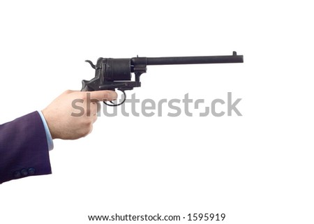 Man holding a gun against white background (clipping path included) - stock photo
