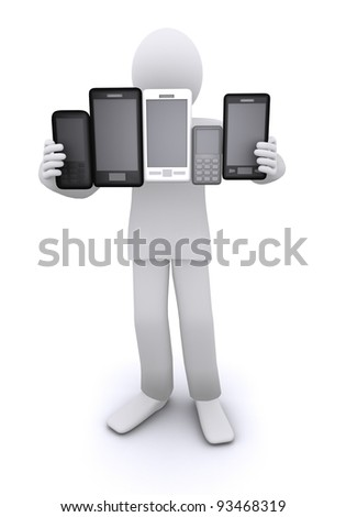 man holding a lot of mobile phones and smart phones