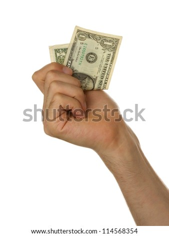 Man holding a one dollar bill in his hand, isolated on white