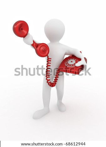 Man holding a telephone receiver on white isolated background. 3d