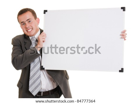 Man holding a white board. - stock photo