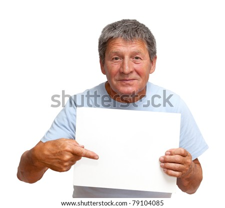 Man holding a white board, isolated on white background