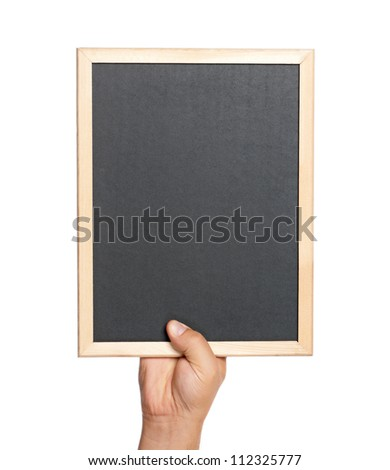Man holding an small blackboard isolated on white background