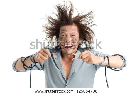 Man holding bared wires and screaming of pain