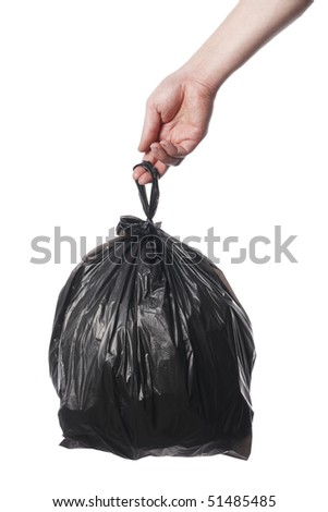Man holding black plastic trash bag in his hand