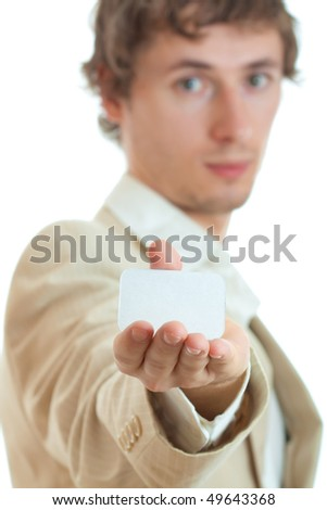 Man holding blank card for advertise isolated