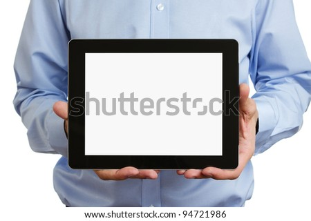 Man holding blank digital tablet with clipping path for the screen