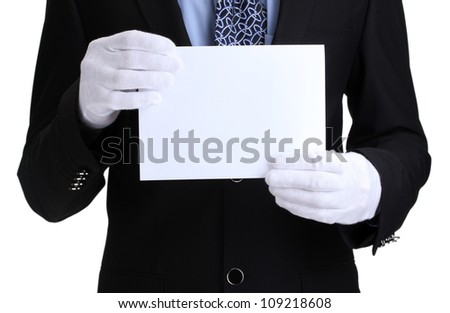 man holding blank paper isolated on white