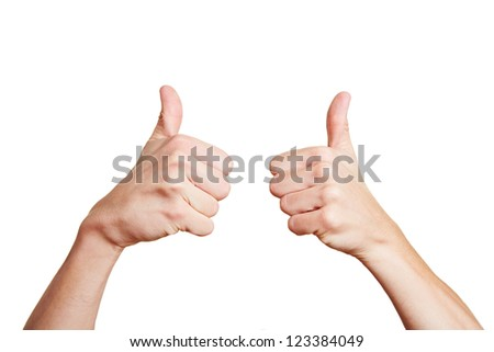 Man holding both his thumbs up high