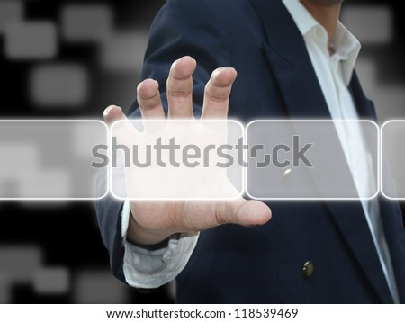 Man holding button