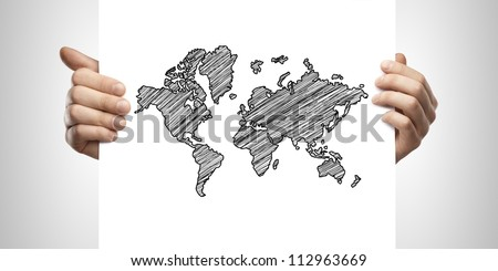 man holding card with drawing map on a white background