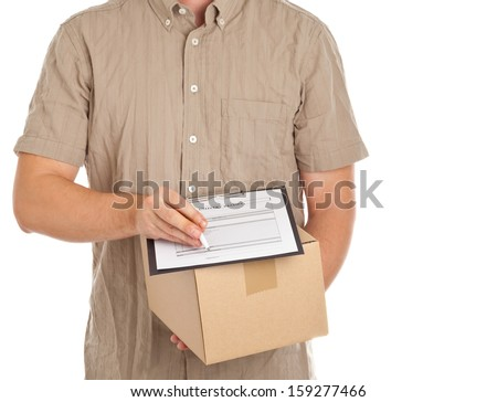 Man holding carton box with package delivery form on clipboard for delivery on white background