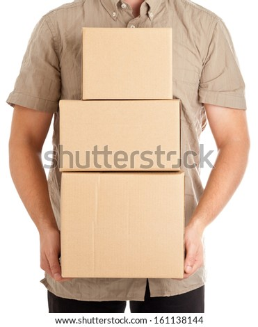 Man holding carton boxes for delivery on white background - stock photo