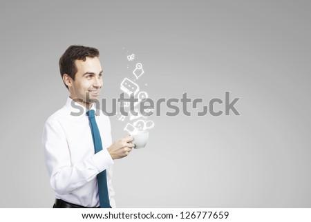 man holding cup social media concept